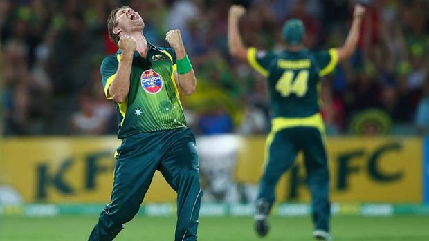 Shane Watson roars with delight after taking the final wicket, that of James Tredwell, to give Australia a five-run win ...