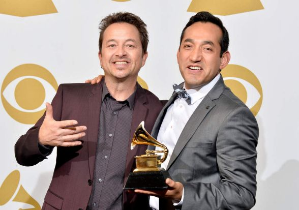 Musicians Steffen Kuehn (L) and Christian Tumalan of Pacific Mambo Orchestra, winners of the Best Tropical Latin Album ...