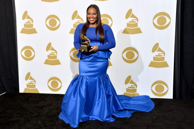"Singer Tasha Cobbs, winner of Best Gospel/Contemporary Christian Music Performance for ""Break Every Chain [Live]""."