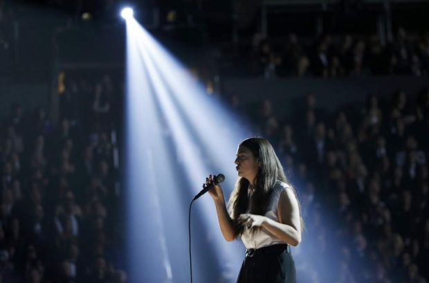 "Lorde performs ""Royals"" at the 56th annual Grammy Awards."