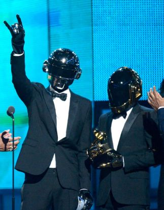 Musicians Thomas Bangalter (L) and Guy-Manuel de Homem-Christo of Daft Punk accept the Best Pop Duo/Group Performance ...