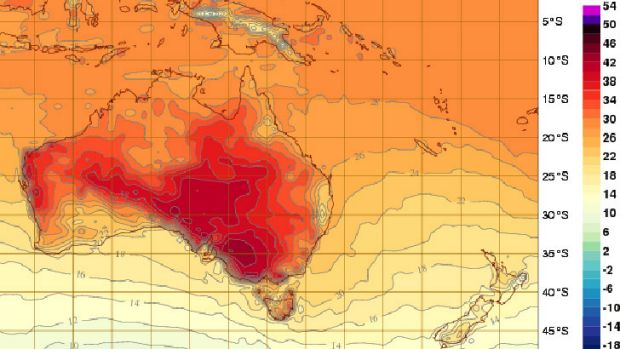 Tuesday at 5pm AEDT shows south-eastern Australia warming up.