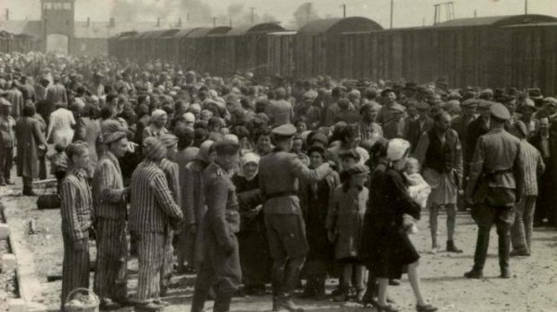 The arrival and processing of a transport of Jewish people at Auschwitz-Birkenau in May 1944.
