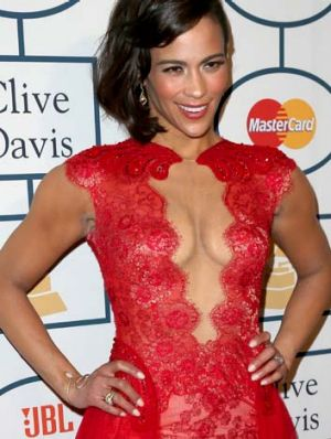 Paula Patton's pressed breasts.