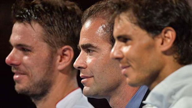 Pete Sampras (centre) with Stanislas Wawrinka (left) and Rafael Nadal at the awards ceremony on Monday night.