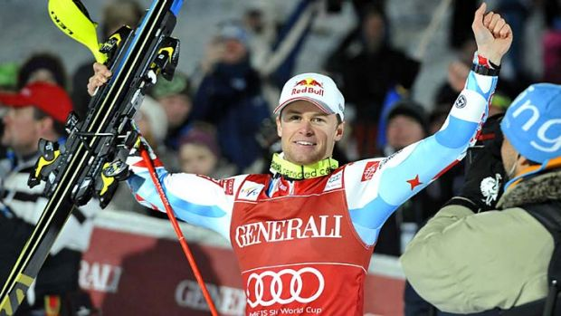 France's Alexis Pinturault celebrates in the finishing area after competing in the FIS men's Alpine ski World Cup ...