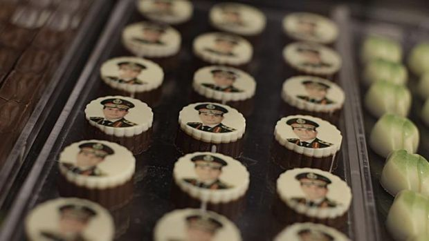 Chocolates decorated with pictures of the man who would be president.