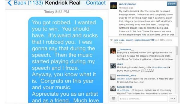 Macklemore's message to Kendrick Lamar.