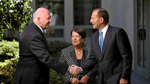 General Peter Cosgrove with Prime Minister Tony Abbott and his wife Lynne.