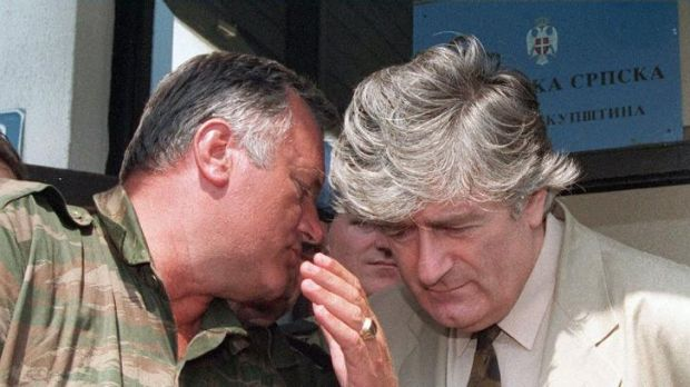 On trial: Both Mladic and Karadzic have been charged with genocide, war crimes and crimes against humanity.