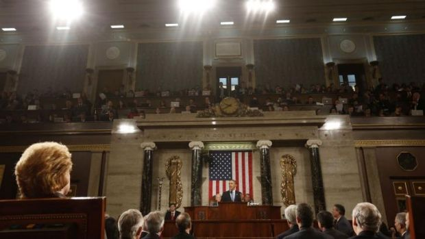On the Capitol: US President Barack Obama during the annual State of the Union.