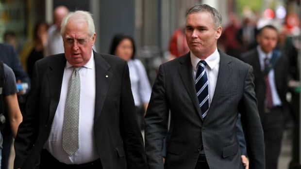 Craig Thomson and his barrister, Greg James QC, (left), arrive at Melbourne Magistrates court on Wednesday.