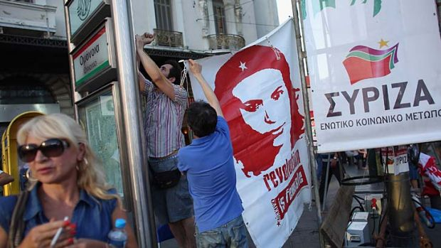 Supporters of the anti-austerity Syriza party at a rally in Athens.