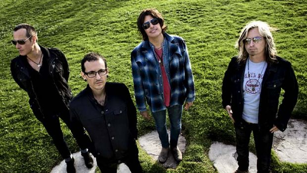 Cancelled: Stone Temple Pilots had planned to tour with Chester Bennington, second from left, the lead singer of Linkin Park.