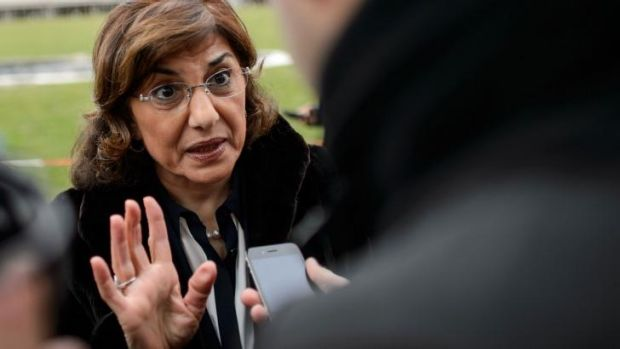 Focus on terrorism: Syrian senior presidential advisor Buthaina Shaaban answers questions from the media at Syrian peace ...