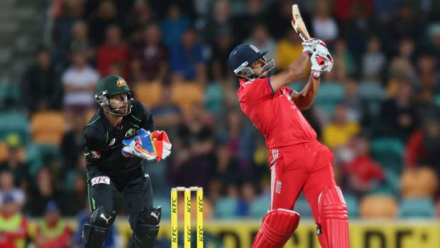 Power hitting: Ravi Bopara struck seven of the 22 sixes overall in the first T20 international between Australia and England.