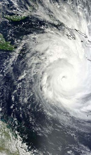 Cyclone Yasi hurtles towards the Queensland coast in 2011.