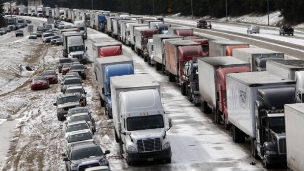 Traffic at a standstill in Birmingham, Alabama after a winter storm that was wider and more severe than many officials ...