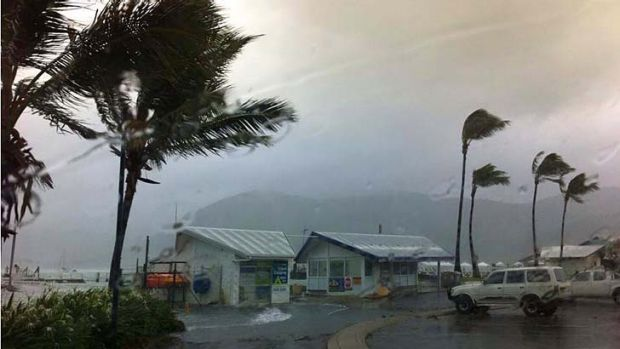 Heavy wind and rain and a storm surge have hit the Whitsundays.