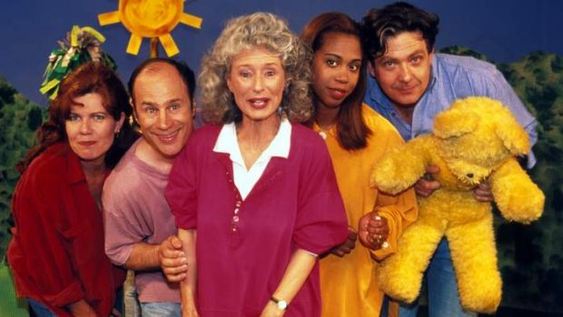 """Treasure our public broadcaster"": Benita Collings with <i>Play School</i> presenters."
