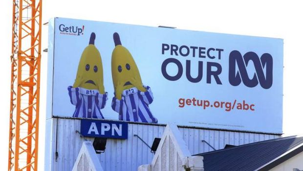 A billboard calling for the protection of the ABC goes up in Rushcutters Bay.