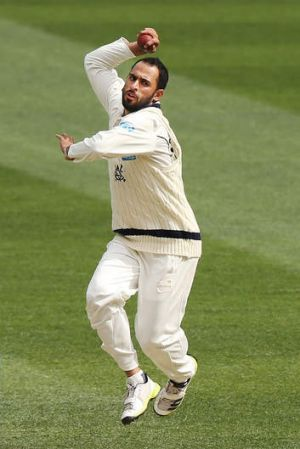 No comment: Fawad Ahmed is keeping his eye on the ball.