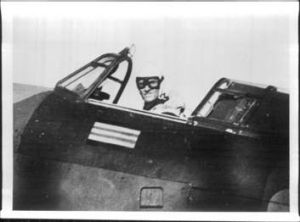 Fearless ... Park in the cockpit of a Hurricane during World War II.