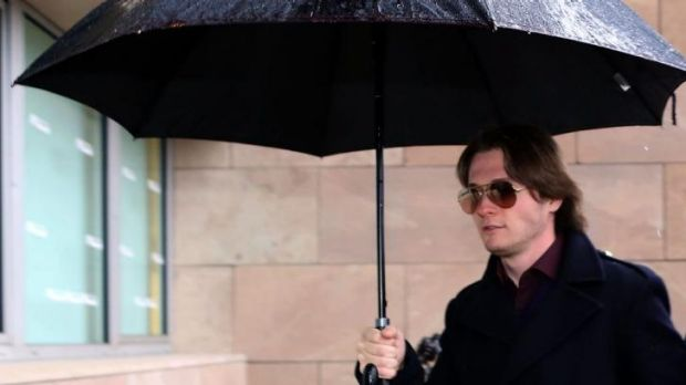 On trial again: Raffaele Sollecito arrives at the court on Thursday for the verdict.