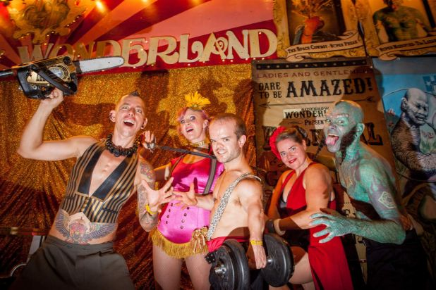 Out there ... Sideshow Wonderland acts Space Cowboy, Zoe L'Amore, Goliath, Betty Brawn and the Lizardman.