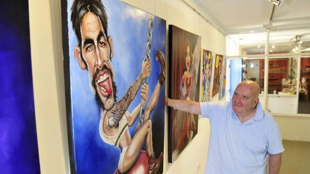 Bald Archy's founder/director Peter Batey with the winning entry: Judy Nadin's Wrecking Balls (Ashes to Ashes)