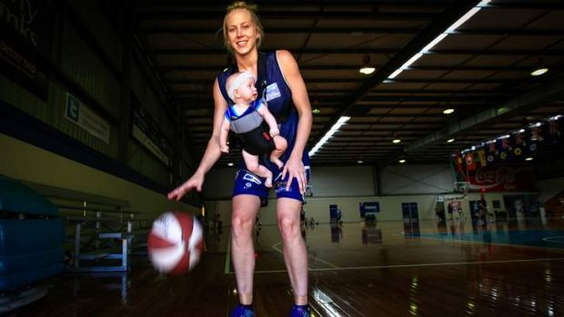 Canberra Capitals star Abby Bishop with her five-month-month old niece Zala.