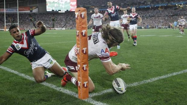 Knock-on: Manly's David Williams fails to ground the ball during the 2013 grand final.