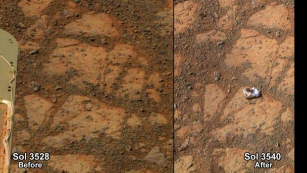 A combination photograph shows Mars on December 26, (left) and on January 8 (right) when  a doughnut-sized rock was ...