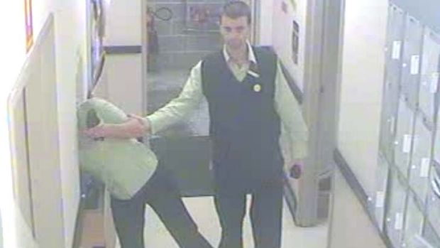 Steven Clark is pictured allegedly grabbing Alysha Wilkie.