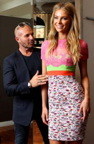 Younger customers: Alex Perry with model Jennifer Hawkins.