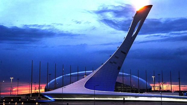 Games on: The Olympic cauldron tested in front of the Bolshoy ice dome.