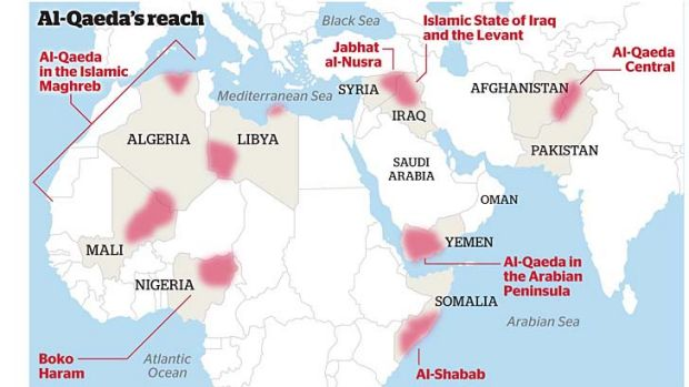 Al-Qaeda: Concentrations of the militant Islamist organisation throughout Africa and the Middle East.