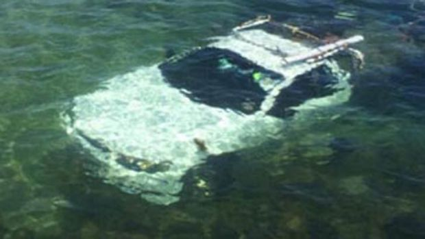 The ute under the water at Mornington.