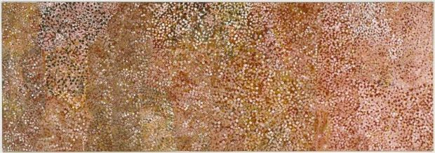 Emily Kam Ngwarray unnamed painting (1992) damaged by a 'tomato canape wielding visitor who lost control of her topping'.