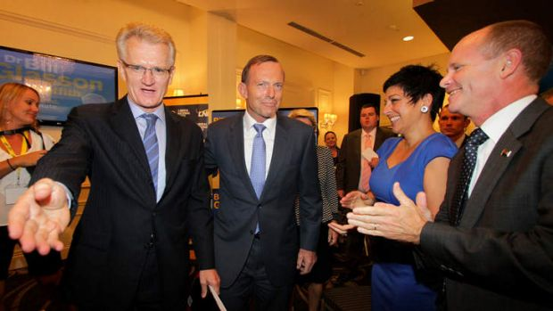 The LNP's Griffith candidate Bill Glasson supported at his launch by Prime Minister Tony Abbott, Premier Campbell Newman ...