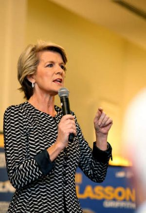 Foreign Minister Julie Bishop repeatedly called the seat of Griffith 'Griffin' during her warm-up speech at Bill ...