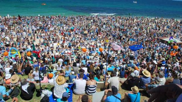 More than 6000 people at Cottesloe voiced their opposition to the state government's shark-kill policy.