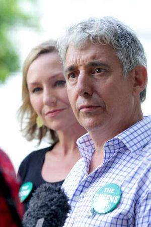 Greens Senator Larissa Waters campaigning with the party's Griffith candidate Geoff Ebbs.