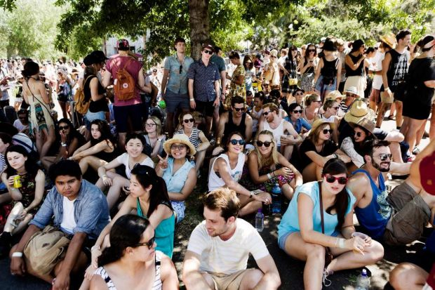 'Shade Seekers' at Laneway Festival in Footscray today where Melbourne's forecast top temperature is 35 degrees.