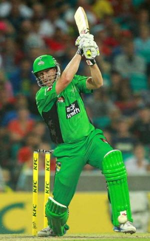 Game-changer: David Hussey hits out for the Melbourne Stars.