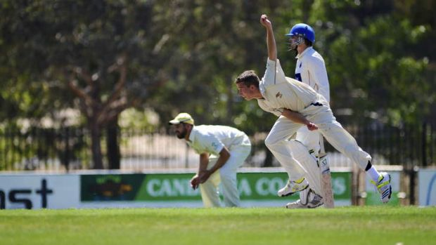 Ginninderra bowler  Cameron Suidgeest in action on Saturday.