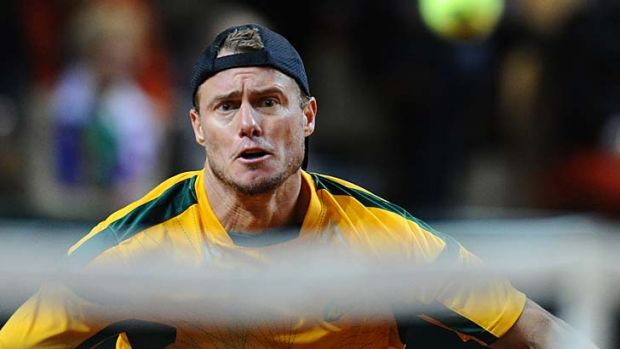 Focused: Lleyton Hewitt during his clash with Jo-Wilfried Tsonga.