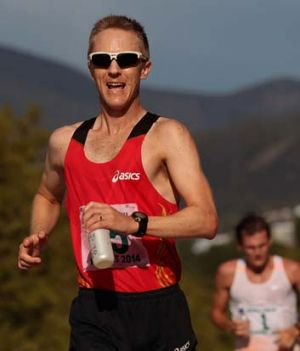 Jared Tallent competes in the men's 20km walk in Hobart on Sunday.