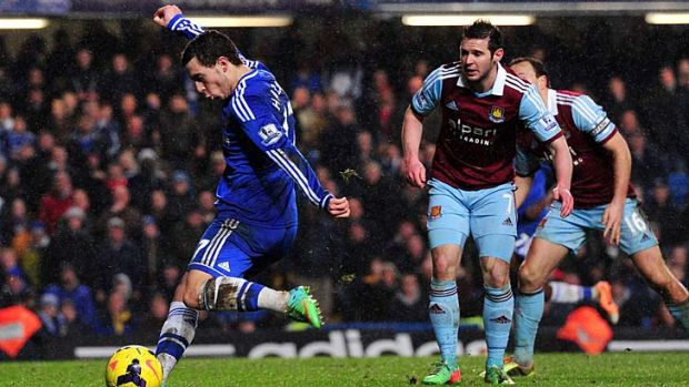 Chelsea midfielder Eden Hazard shoots at goal  during the match against West Ham last Wednesday which ended in a ...