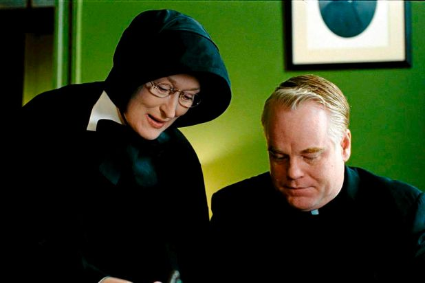 With Meryl Streep on the set of 2008's  <i>Doubt</I>.